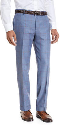 Zanella Windowpane Wool Straight-Leg Trousers