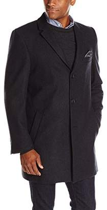Nick Graham Men's Wall Street Notch Lapel Overcoat with Pocket Square