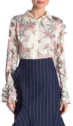Gracia Floral Printing Ruffle Sleeve Blouse
