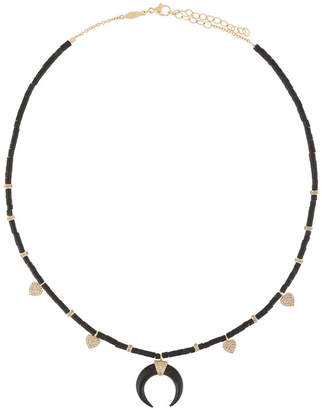 Jacquie Aiche 14kt gold diamond double horn & 4 heart black beaded necklace