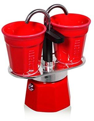 Bialetti Set Mini Express with 2 Espresso Cups, Red