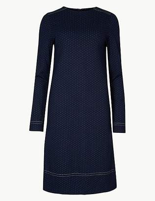 M&S Collection Spotted Long Sleeve Shift Dress