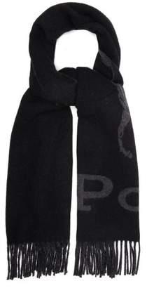 Polo Ralph Lauren Logo Jacquard Wool Blend Scarf - Mens - Black Multi