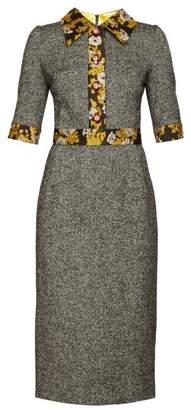 Dolce & Gabbana Brocade Trimmed Wool Blend Tweed Dress - Womens - Grey Multi