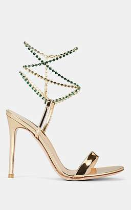 Gianvito Rossi Women's Crystal Ankle Strap Leather Sandals - Gold