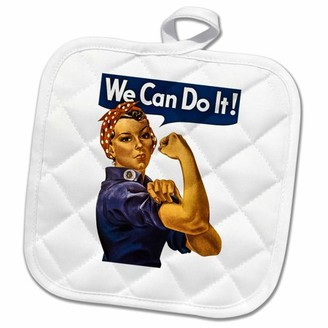 3dRose Vintage Rosie the Riveter WWII American Feminist Icon We Can Do It - Pot Holder, 8 by 8-inch