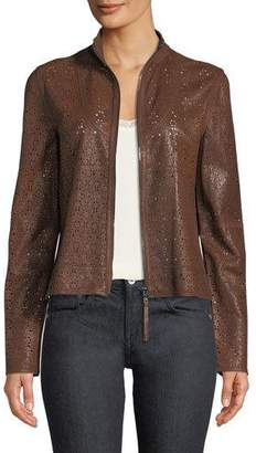 Elie Tahari Highline Laser-Cut Leather Topper Jacket