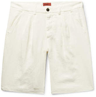 Barena Pleated Linen Shorts - Men - White