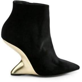 Salvatore Ferragamo Bolgheri Cut-out Wedge Booties