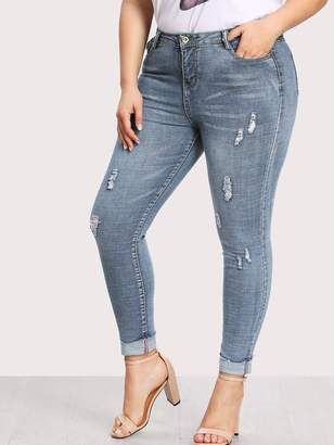 Shein Plus Ripped Faded Wash Jeans