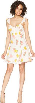 ASTR the Label Women's Brianne Casual Floral Print Ruffle Strap Short Flowy Dress