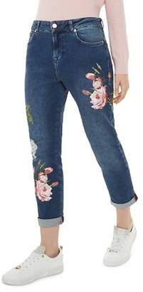 Ted Baker Khlowe Floral Embroidered Boyfriend Jeans in Dark Blue