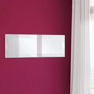 Gallery Solutions 14x44 Beveled Full Length Wall Mirror With Mirror Panel Border