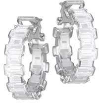 Adriana Orsini Geometric Cubic Zirconia Clip-On Hoop Earrings