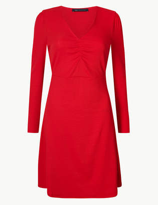 Marks and Spencer Textured Long Sleeve Fit & Flare Mini Dress