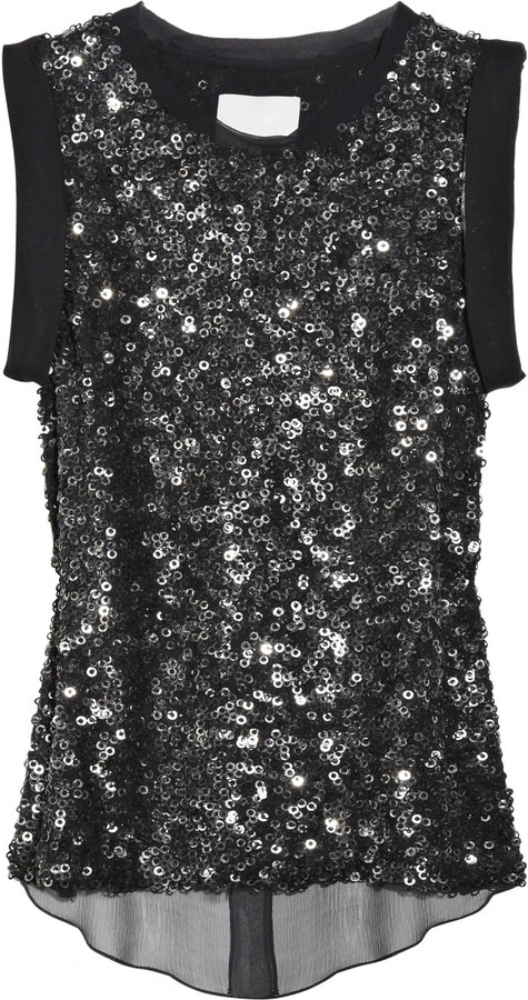 3.1 Phillip Lim Sequined silk-chiffon blouse