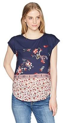 Jolt Women's Short Sleeve Mixed Media Top