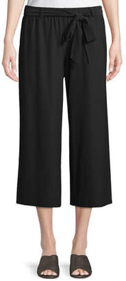 Eileen Fisher Washable Stretch Crepe Cropped Pants w/ Belt, Plus Size