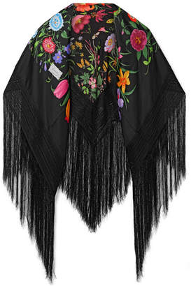 Gucci Fringed Macramé-trimmed Floral-print Silk-twill Scarf - Black