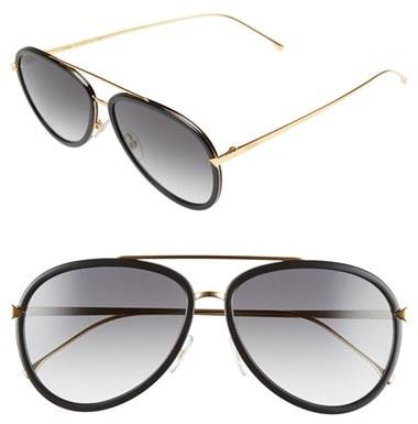 Women's Fendi 57Mm Aviator Sunglasses - Black/ Yellow Gold