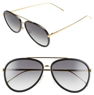 Women's Fendi 57Mm Aviator Sunglasses - Black/ Yellow Gold $480 thestylecure.com