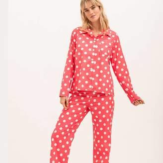 PJ Pan Women's Watermelon Red Cotton Polka Dot Pyjamas