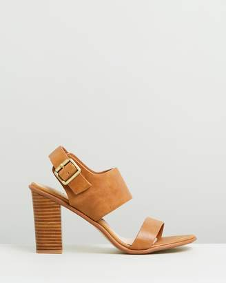 Walnut Melbourne Havana Leather Block Heels