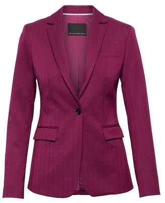 Banana Republic Petite Long and Lean-Fit Machine-Washable Herringbone Blazer