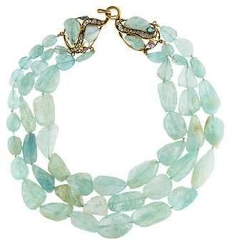 Iradj Moini Aquamarine Triple Strand Necklace