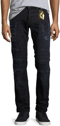 Robin's Jeans Distressed Moto Skinny Jeans, Black-Blue