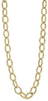 Lagos Caviar Gold Collection 18K Gold Fluted Oval Link Necklace, 24""