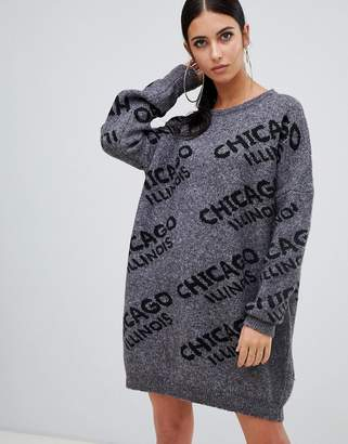 Missguided crew neck sweater dress with Chicago slogan in gray