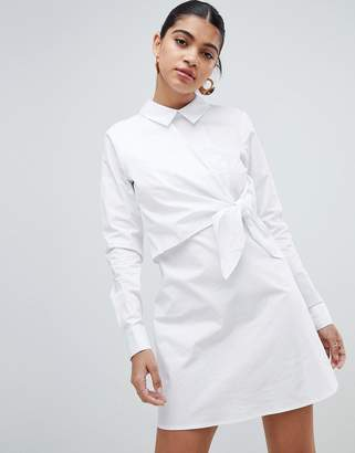 Fashion Union Shirt Dress With Tie Front Detail