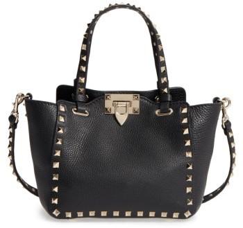 Valentino Rockstud - Mini Alce Leather Tote - Black