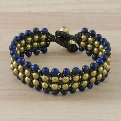 Dreams of Nature in Blue Handcrafted Lapis Lazuli Beaded Bracelet from Thailand