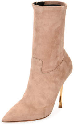 Valentino Stretch-Suede Point-Toe Mid-Calf Boots