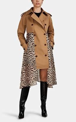 BEIGE BESFXXK Women's Twill & Leopard-Pattern Chiffon Trench Coat - Beige, Tan