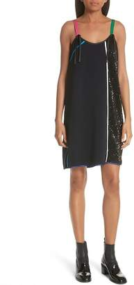 HARVEY FAIRCLOTH Sequin Panel Piping Detail Dress