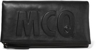 McQ Alexander McQueen Fold-over embossed leather clutch $515 thestylecure.com
