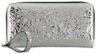MM6 MAISON MARGIELA crinkled mirrored zip around wallet