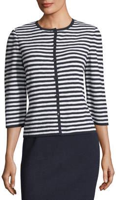 St. John Two-Toned Striped Knit Cardigan
