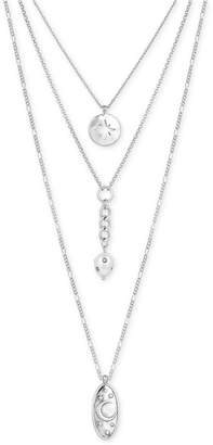 "Lucky Brand Silver-Tone Crystal & Imitation Pearl Celestial 18"" Triple-Row Necklace"
