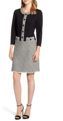 Anne Klein A-Line Knit & Tweed Dress