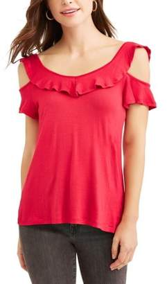 No Comment Women's Ruffle Neck and Sleeve Cold Shoulder T-Shirt
