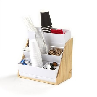 Mind Reader, 9 Compartment Condiment Organizer with Acrylic Drawers and Wood Base, White