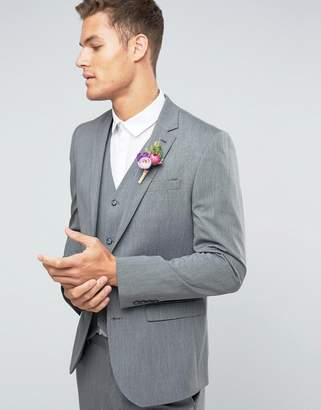 Asos DESIGN WEDDING Slim Blazer with Stretch in Mid Gray