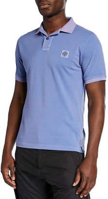 Stone Island Men's Garment-Washed Pique Polo Shirt