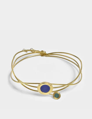 Lapis Tribal Statement Choker Necklace in Gold-Plated Brass with Lazuli and Malachite