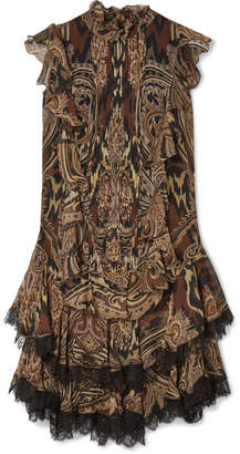 Etro Lace-trimmed Printed Silk-crepe Mini Dress - Brown