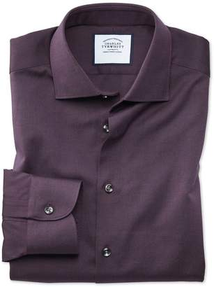 Charles Tyrwhitt Classic Fit Business Casual Berry Royal Oxford Cotton Dress Shirt Single Cuff Size 15/34